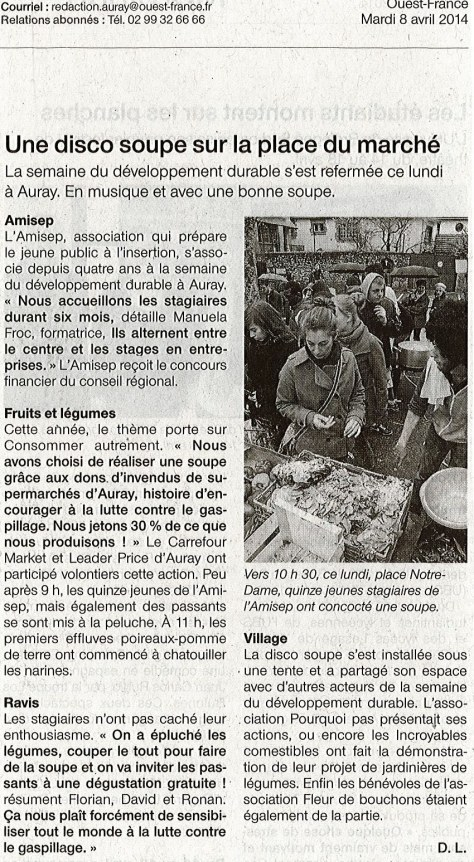 Article Ouest France Disco Soupe Auray 2014