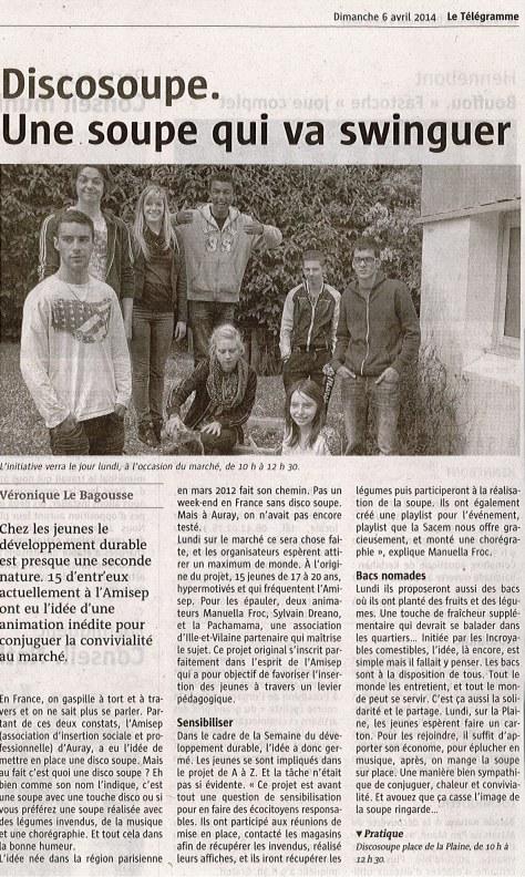 Article Télégramme Disco Soupe Auray 2014