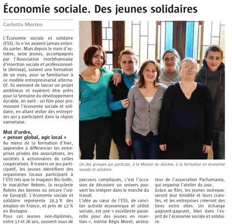 Article Télégramme Projet ESS Vannes 2014