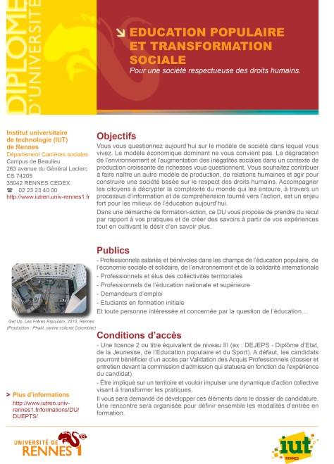 DU Education Populaire et Transformation Sociale - 2014-2015