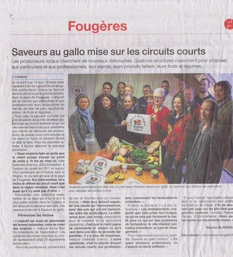 Article Saveur au Gallo - 29 janvier 2015 - OUest France
