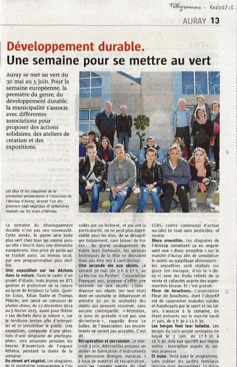 Article Télégramme - 20 05 2015